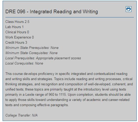 pre college developmental course descriptions robeson community
